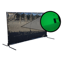 Green Welding Curtain / Screen and frame Combo - Heavy duty on wheels-  1.8m x 2.7m