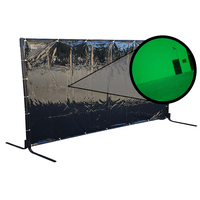 Green Welding Curtain / Screen and frame Combo - Heavy duty on wheels- 1.8m x 3.4