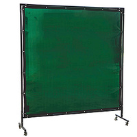 Green Welding Curtain / Screen and frame Combo - Heavy duty on wheels-  2.0m x 2.0m