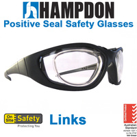12 x Positive Seal Safety Glasses - Links - Black with Clear Lens