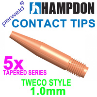 MIG Contact Tips TAPERED - TWECO #2 & #4 - 1.0 mm - 5 pack