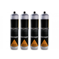 4 x Bromic 1 Litre Disposable Oxygen Gas Bottle - 12mm Thread 400300
