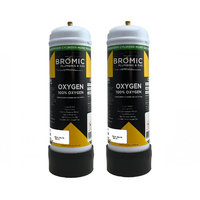 2 x Bromic 2.2 litre Disposable Oxygen Gas Bottle - 12mm Thread
