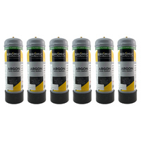 6 x Disposable Gas Bottle - Pure Argon - 2.2 Litre