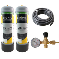 Disposable Gas Bottle - ARGON | CO2 - 2.2 Litre - 2 x Bottle Combo Kit