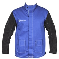 Large Weldclass Welding Jacket - BLUE FR with Leather Sleeves