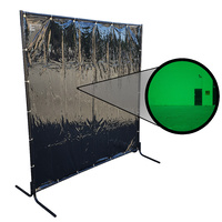 1.8 x 1.8m Green Welding Curtain / Screen and Heavy Duty Tube Frame Combo