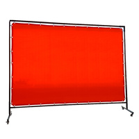 1.8 x 2.7m Red Welding Curtain / Screen and frame Combo
