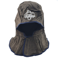 Charcoal Brown Split Cowhide Welders Hood with Cotton Mesh Lining