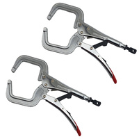 2 x Strong Hand Locking C-Clamp Pliers 280mm Long with Round Ends