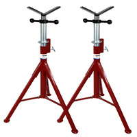 2 x Heavy Duty Welding Pipe Stand Fixed Legs Adjustable Height - 1135kg