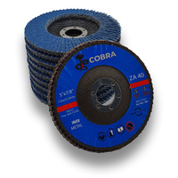 "COBRA 5"" / 125mm Flap Disc - 40 GRIT - 50 Pack"