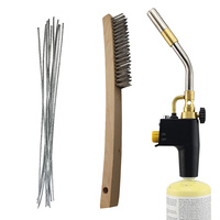 Aluminium Brazing Kit - 10 x Brazing Rods + MAPP Gas Blow Torch & S/S Wire Brush