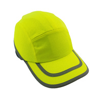 Dodge Bump Cap - 70mm short Peak - Neon yellow w/ silver strip