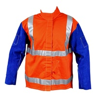 Large PROMAX HV2 Welding Jacket - Hi-Vis w/ Leather Sleeves + Harness Flap